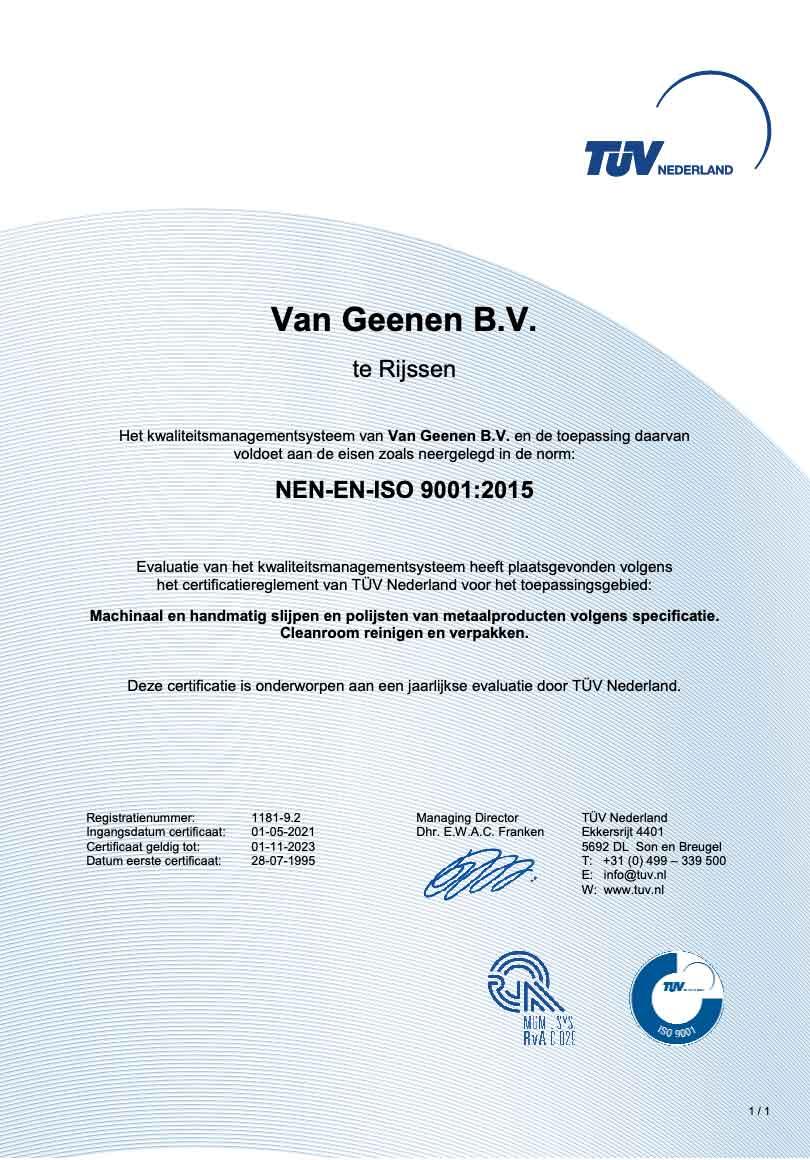 ISO 9001 zertifikat Van Geenen